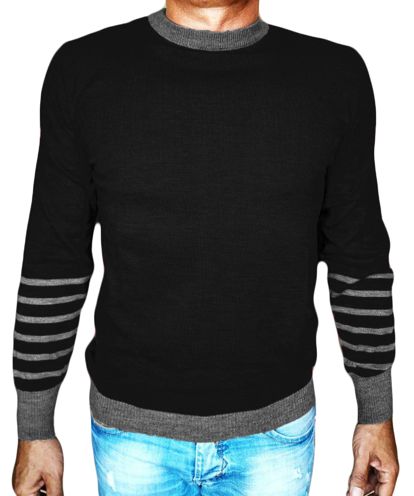 Maglia Girocollo Rigata 1 Sweater with rows on back black- front side