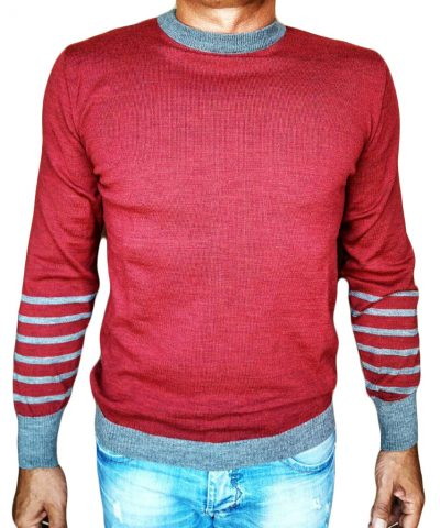Maglia Girocollo Rigata 1 Sweater with rows on back red - front side