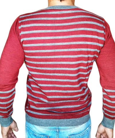 Maglia rigata schiena rossa schiena - Sweater with rows on back red - backside