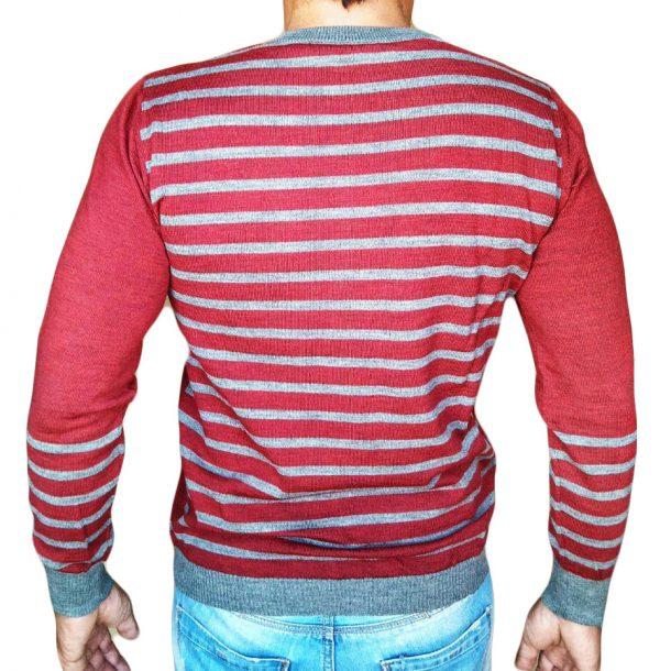 Maglia rigata schiena rossa schiena - Sweater with rows on back red - backside