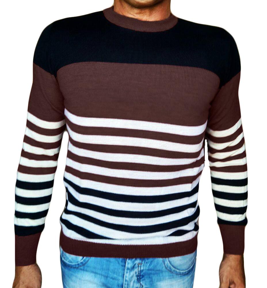 Maglia Girocollo Rigata - Sweater with rows brown