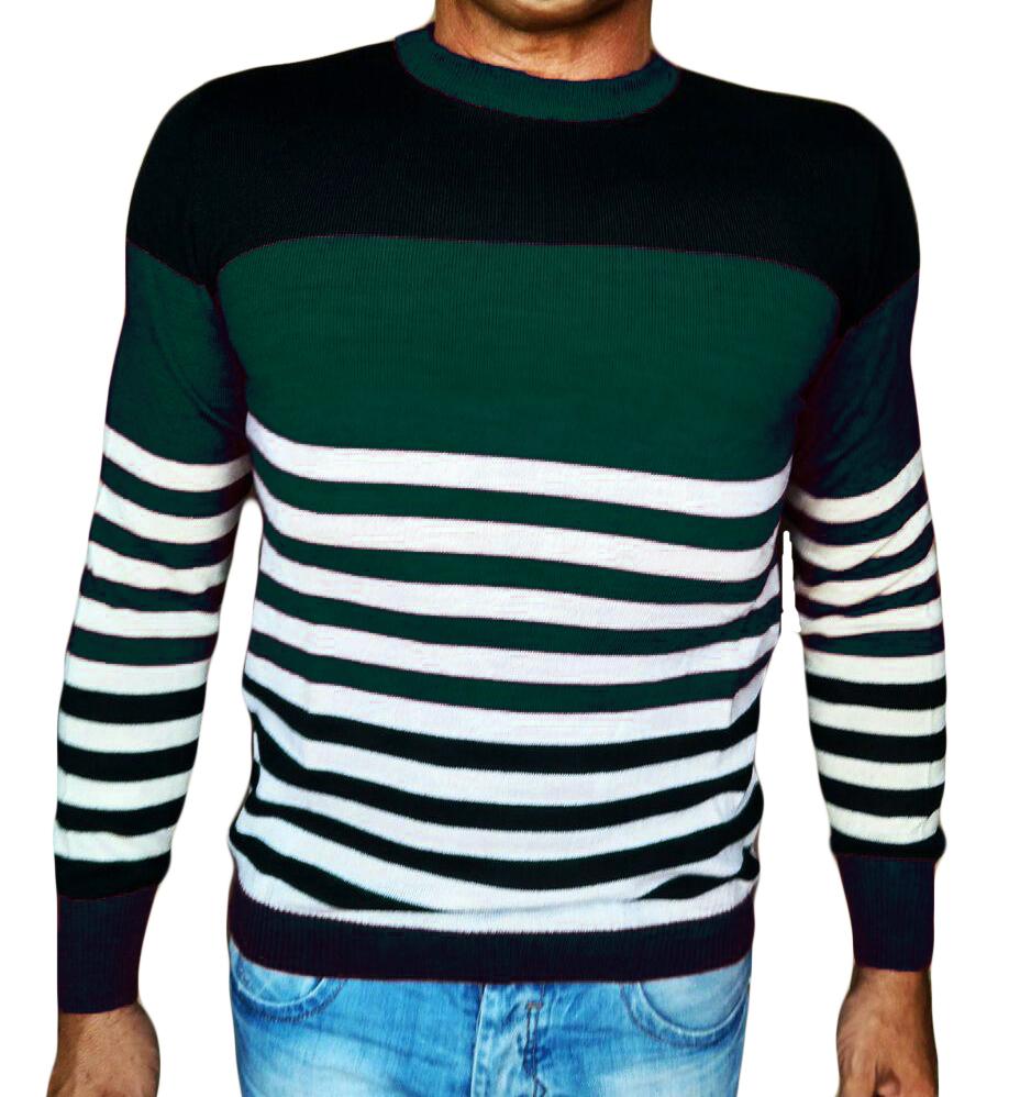 Maglia Girocollo Rigata - Sweater with rows teal