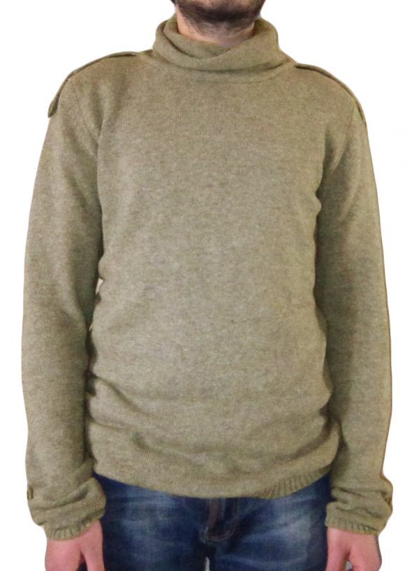 maglia in cachemire beige con mostrine - sweater in cashmere beige with epaulettes