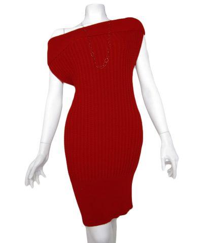Abito con Torciglioni in Maglia - knit dress brainding red