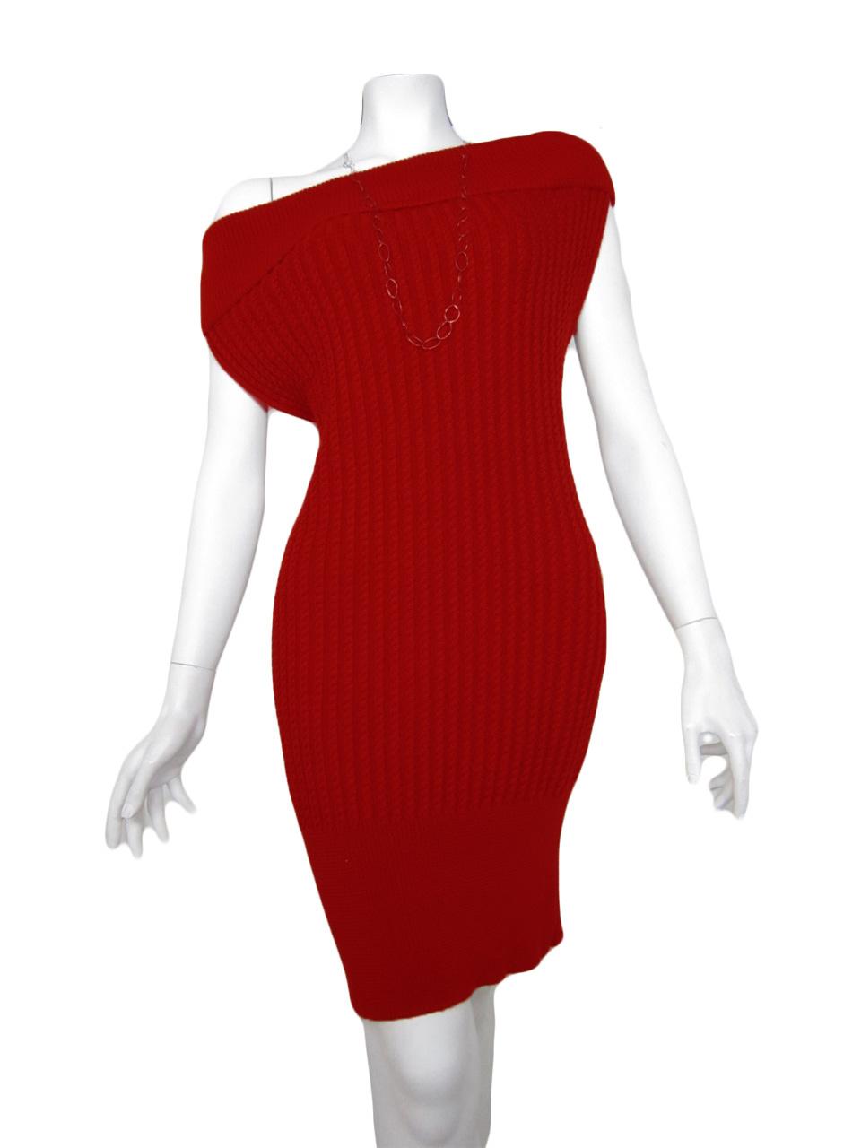 knit dress brainding red